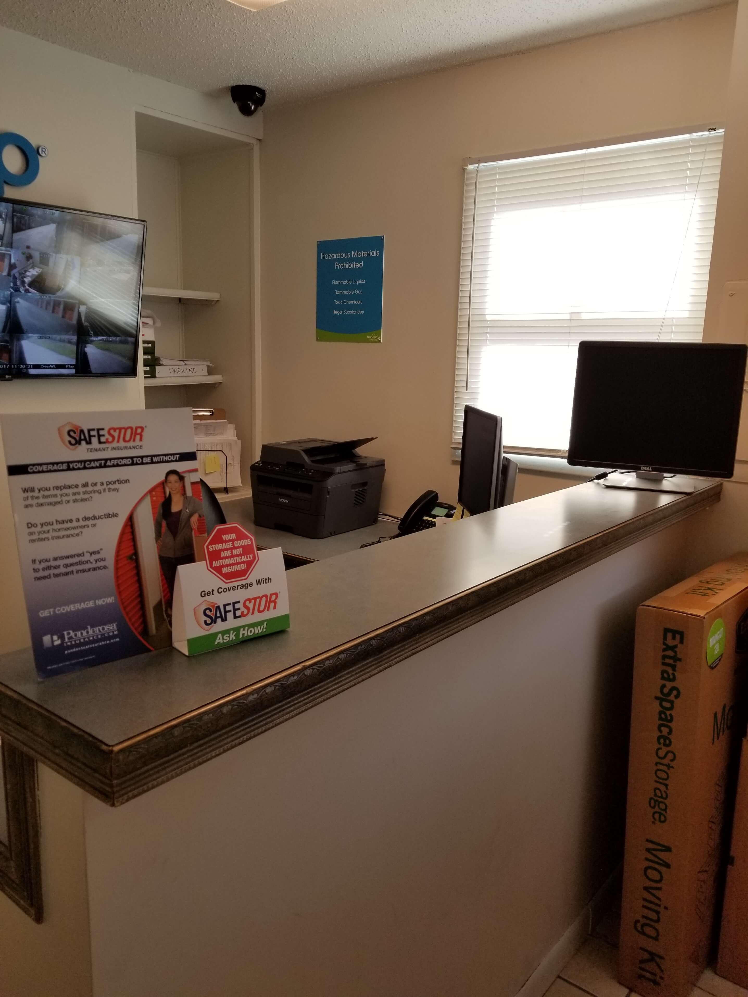 Front desk within office at Smart Stop self storage facility located at 40 Wilmington, Asheville North Carolina