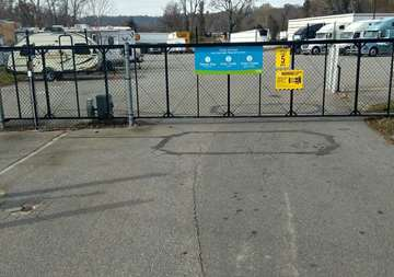 Security gate at SmartStop Self Storage facility located at 550 Swannanoa River Road, Asheville North Carolina
