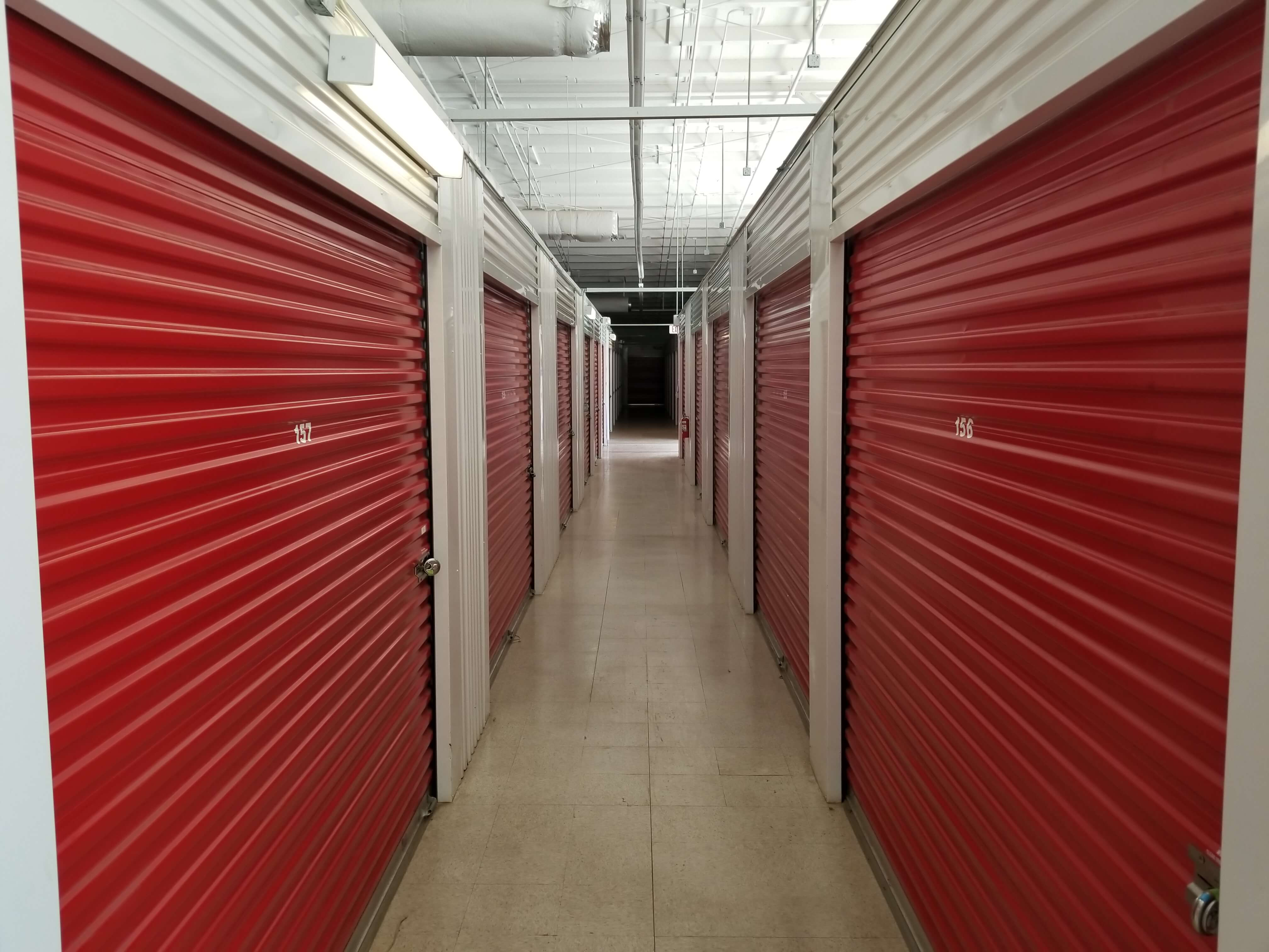 Inside row of storage units at Smart Stop self storage facility located at 550 Swannanoa River Road, Asheville North Carolina