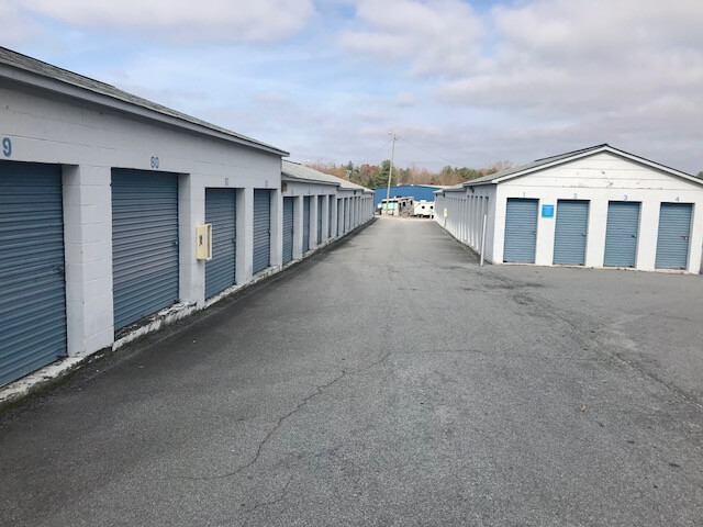 Outside row of storage units at Smart Stop self storage facility located at 102 Glover Street, Hendersonville North Carolina