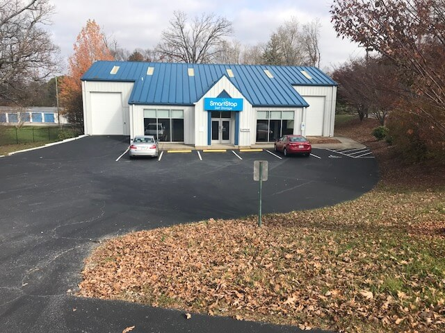 View from outside main office at Smart Stop self storage facility located at 102 Glover Street, Hendersonville North Carolina
