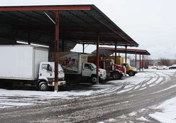 Covered outdoor parking at SmartStop Self Storage facility located at 4548 Dufferin Street, North York Ontario Canada