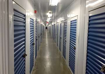 Inside row of storage units at SmartStop Self Storage facility located at 4548 Dufferin Street, North York Ontario Canada