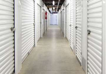 Inside row of storage units at SmartStop Self Storage facility located at 3136 Mavis Road, Mississauga Ontario Canada
