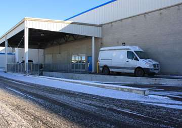 Covered loading dock at SmartStop Self Storage facility located at 3136 Mavis Road, Mississauga Ontario Canada