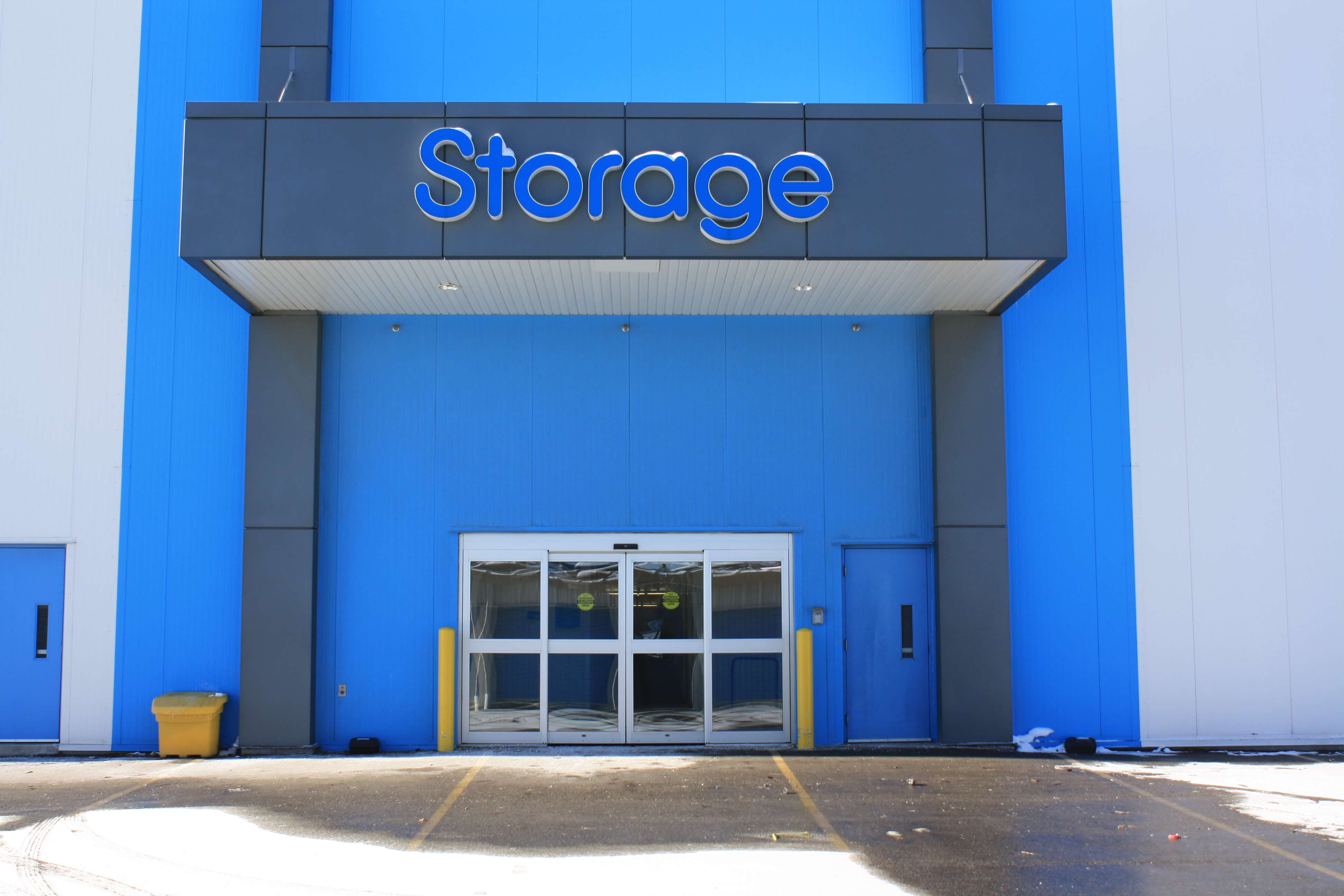 Front entry into Smart Stop self storage facility located at 8 Brewster Road, Brampton Ontario Canada
