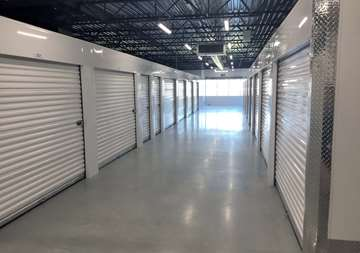 Inside row of storage units at SmartStop Self Storage facility located at 600 Granite Ct, Pickering Ontario Canada
