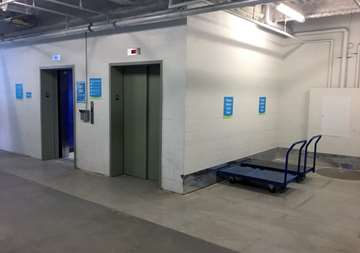 Elevator access and courtesy loading carts at SmartStop Self Storage facility located at 600 Granite Ct, Pickering Ontario Canada