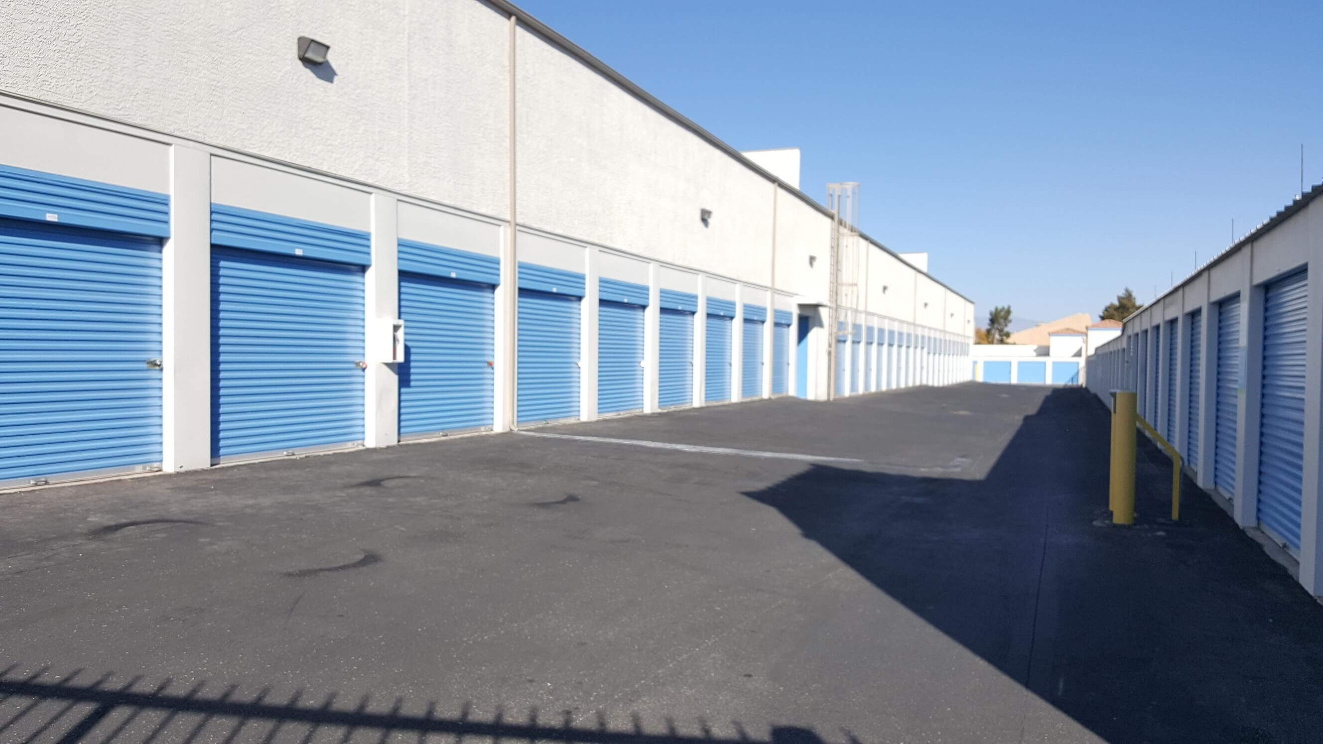 Outside row of storage units at Smart Stop self storage facility located at 4349 South Jones Blvd., Las Vegas Nevada