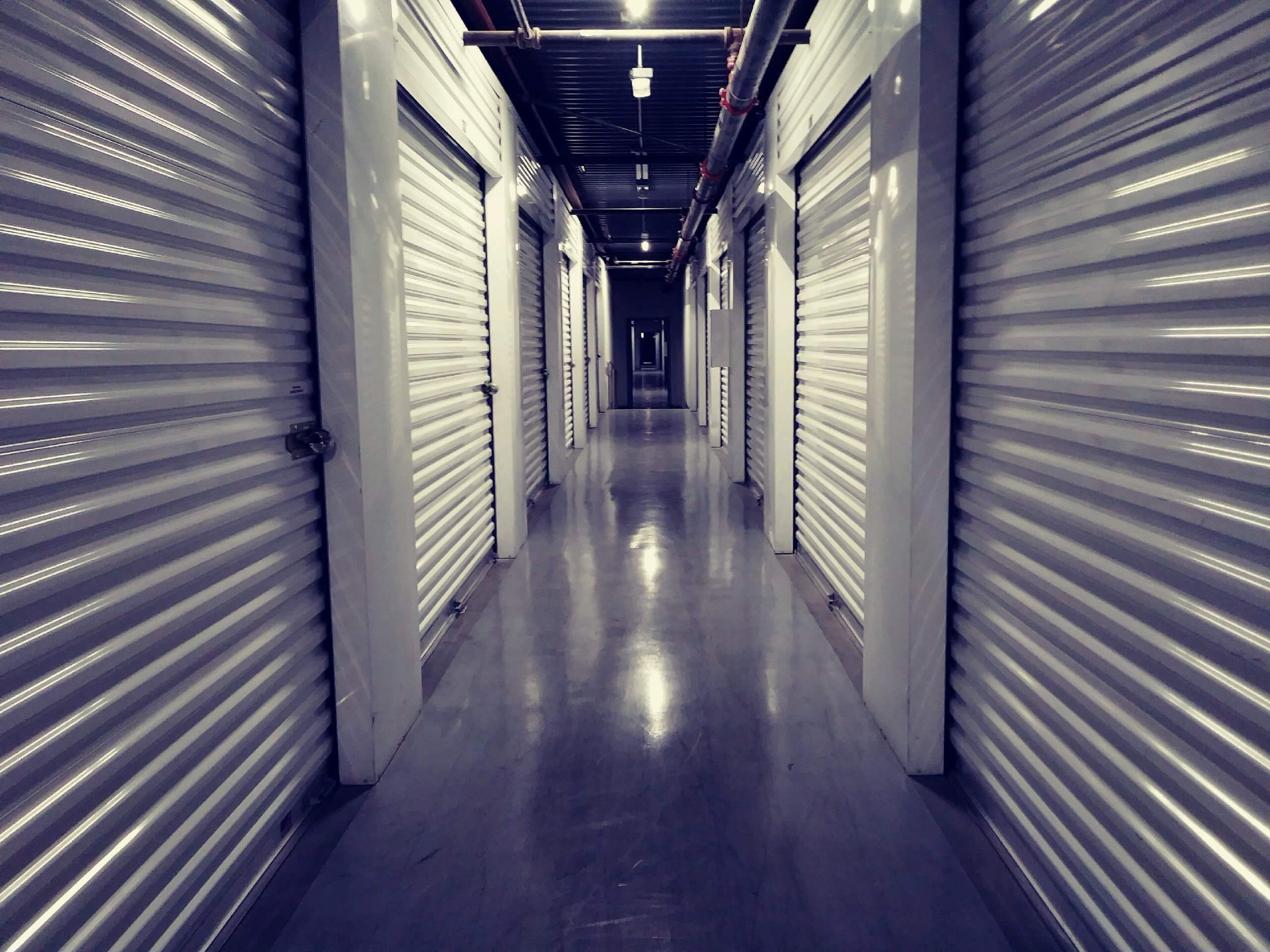Inside row of storage units at Smart Stop self storage facility located at 4349 South Jones Blvd., Las Vegas Nevada