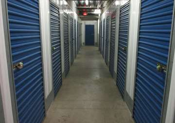 Inside row of storage units at SmartStop Self Storage facility located at 4866 East Russell Road, Las Vegas Nevada