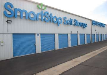 Outside row of storage units at SmartStop Self Storage facility located at 4866 East Russell Road, Las Vegas Nevada