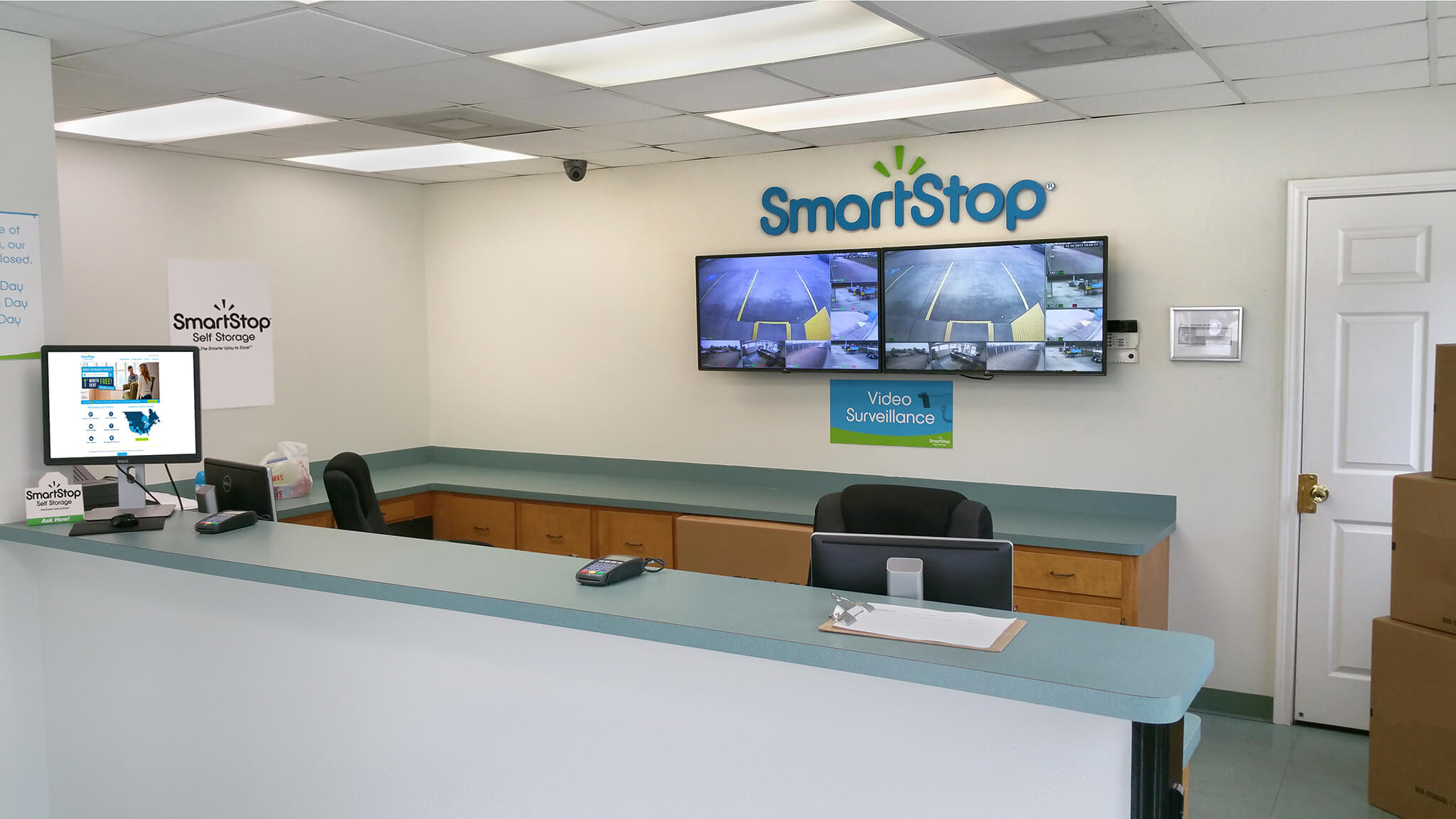Front desk view of Smart Stop Self Storage facility at 1671 Northpark Drive in Kingwood Texas