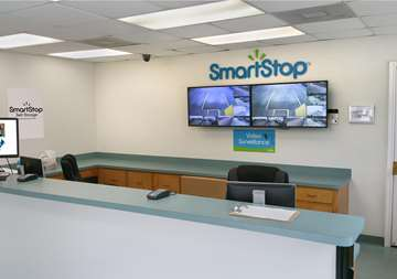 Front desk view of SmartStop Self Storage facility at 1671 Northpark Drive in Kingwood Texas