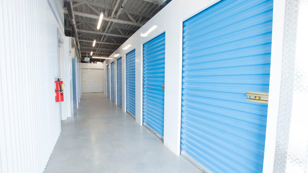 Inside row of storage units at Smart Stop self storage facility located at 365 Fruitland Road, Stoney Creek Ontario Canada