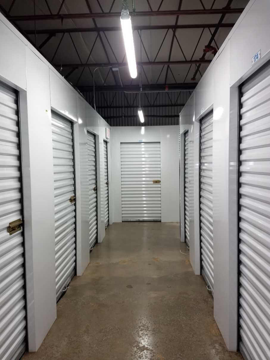 Inside row of storage units at Smart Stop self storage facility located at 3173 Sweeten Creek Road, Asheville North Carolina