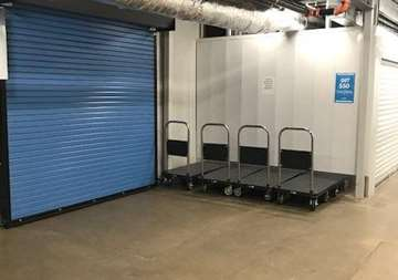 Roll up door access and courtesy carts at SmartStop Self Storage facility located at 3173 Sweeten Creek Road, Asheville North Carolina