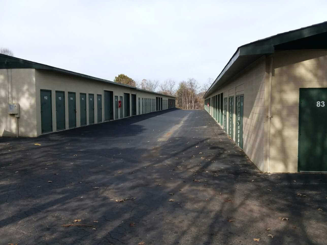 Outside row of storage units at Smart Stop self storage facility located at 197 Deaverview Road, Asheville North Carolina