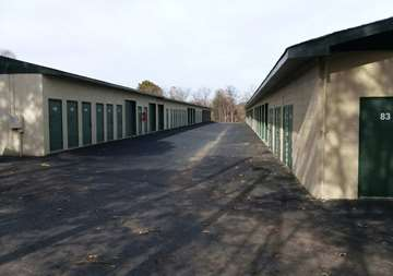 Outside row of storage units at SmartStop Self Storage facility located at 197 Deaverview Road, Asheville North Carolina