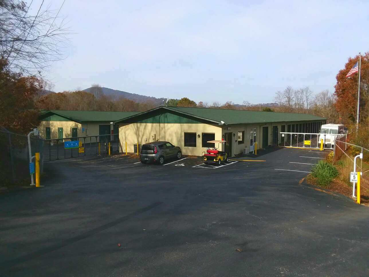 Front entry view of Smart Stop self storage facility located at 197 Deaverview Road, Asheville North Carolina
