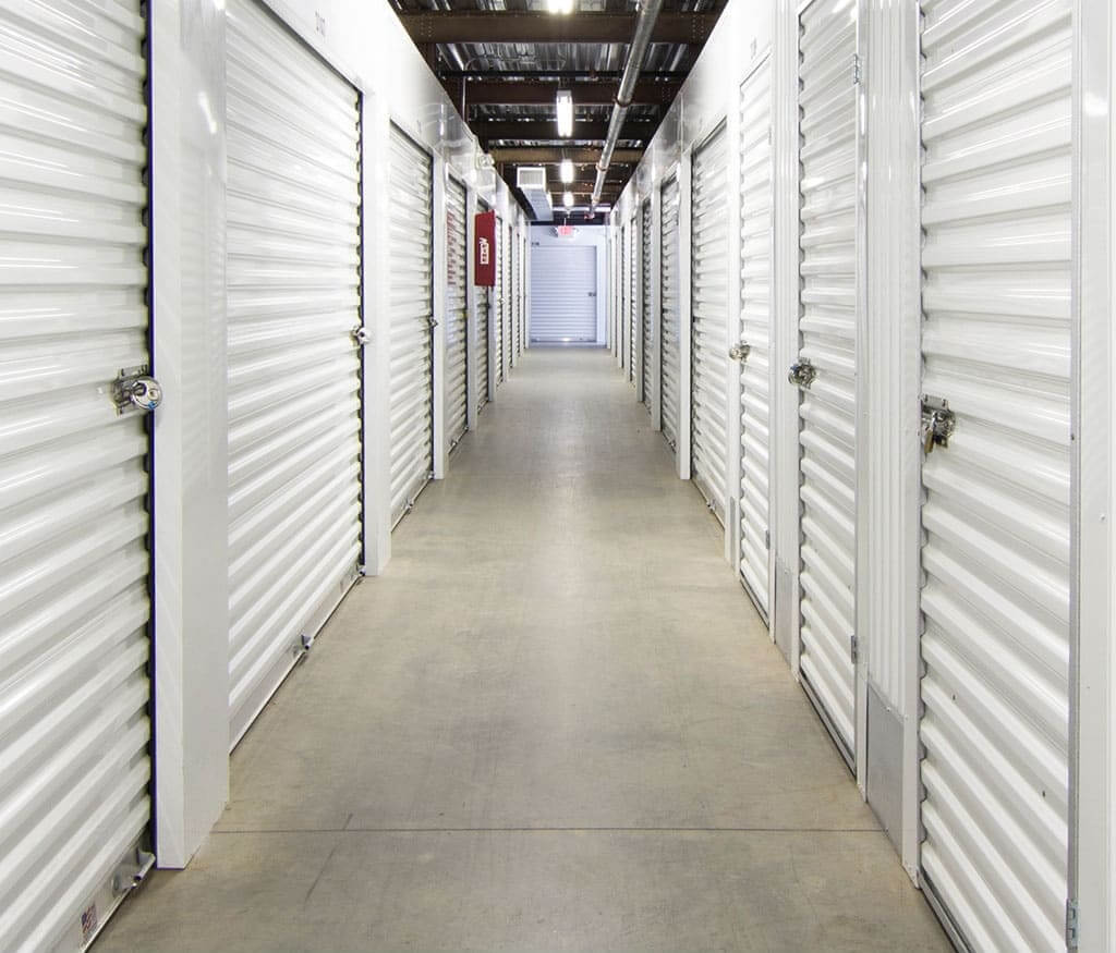 Inside row of storage units at Smart Stop self storage facility located at 701 Wando Park Blvd, Mt Pleasant South Carolina