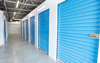 Interior storage unit with blue doors