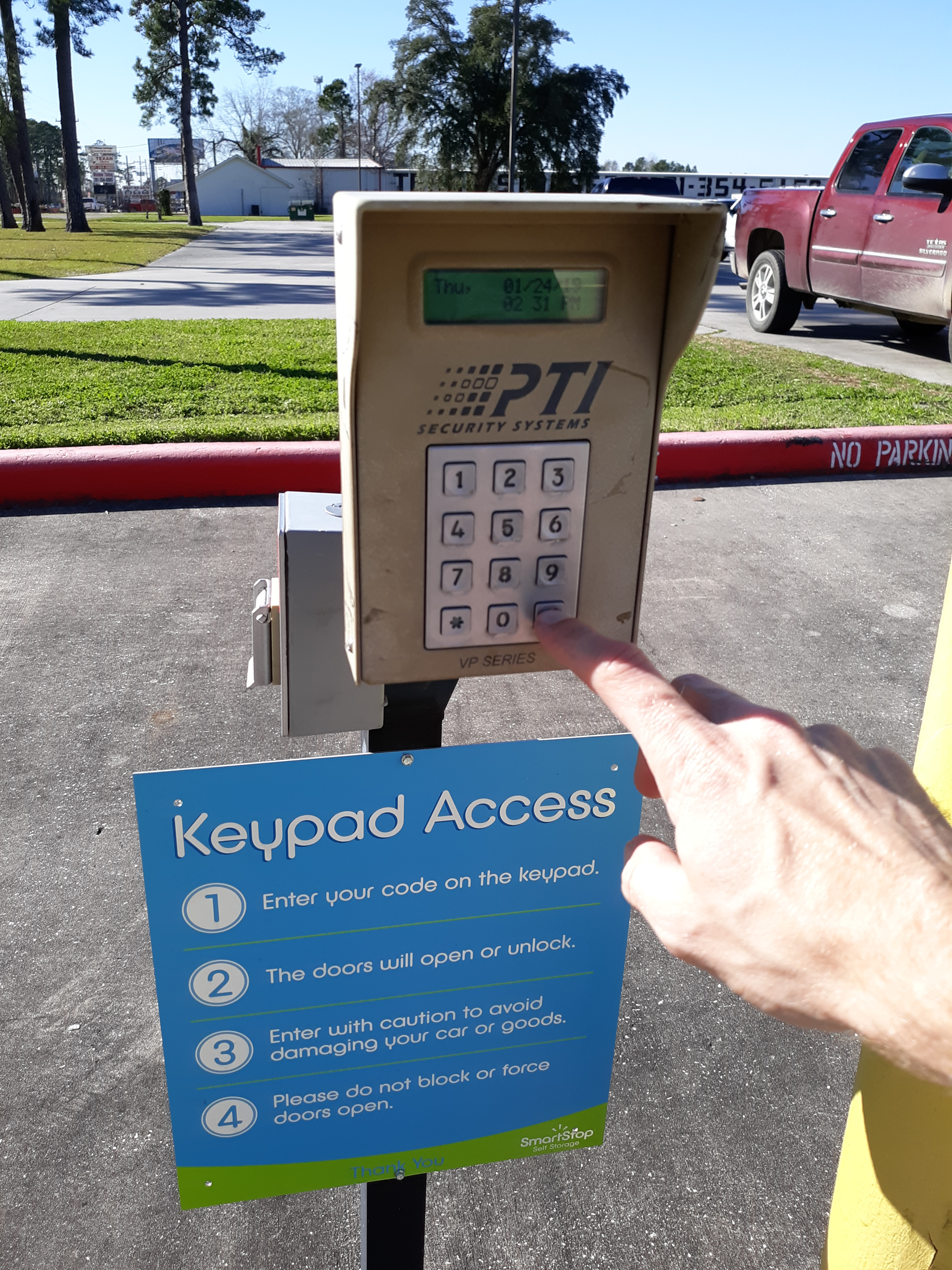 Gate keypad at Smart Stop Self Storage facility at 1671 Northpark Drive in Kingwood Texas