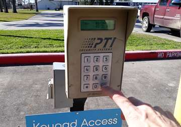 Gate keypad at SmartStop Self Storage facility at 1671 Northpark Drive in Kingwood Texas