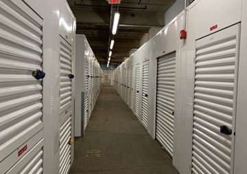Row of storage lockers in Newark