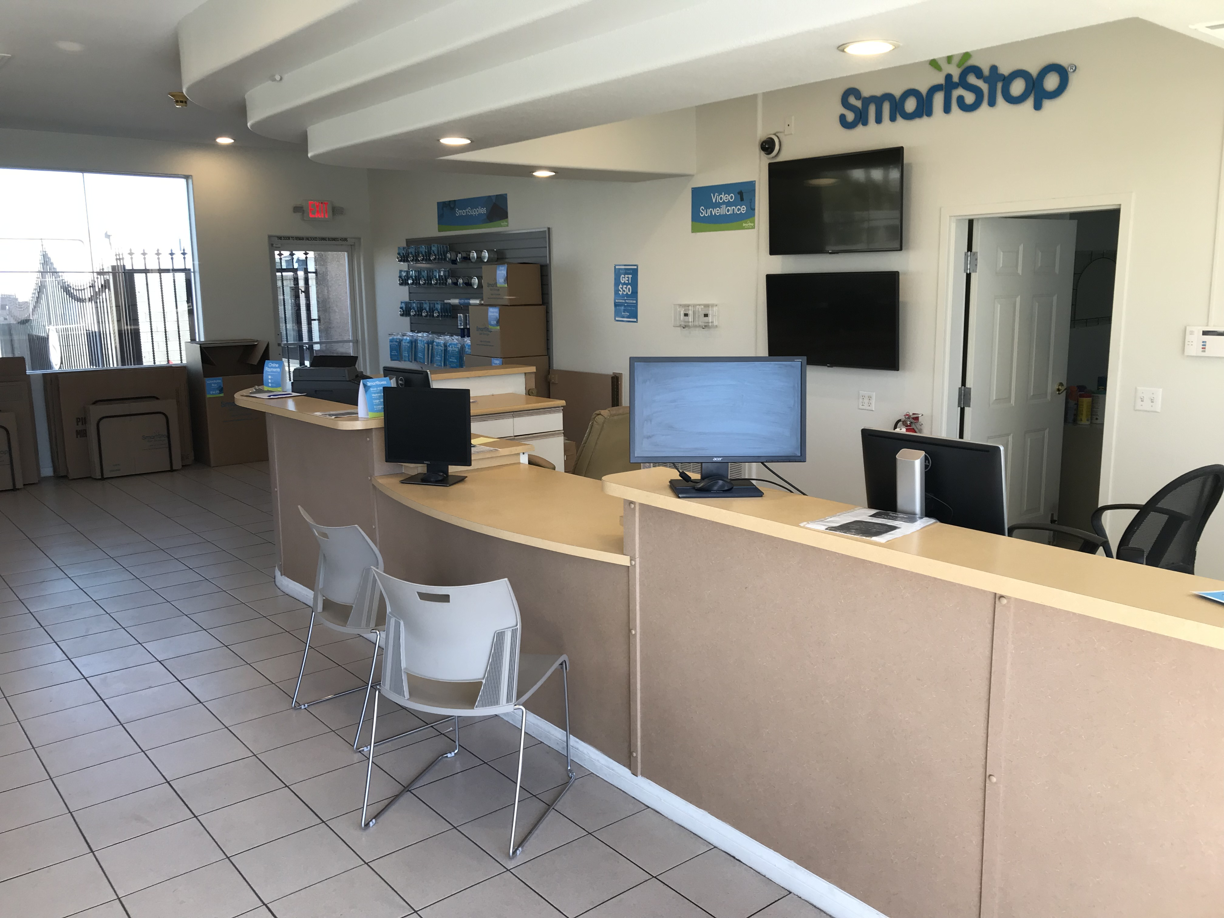 Front desk at Smart Stop self storage facility located at 9890 Pollock Drive, Las Vegas Nevada