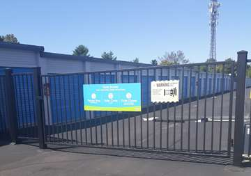 Security gate entrance at SmartStop Self Storage facility located at 4233 Route 130 South, Beverly New Jersey