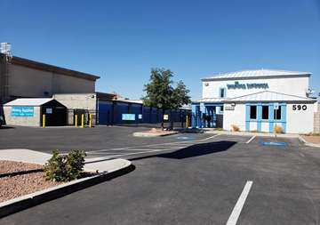 Front office and gate entry at SmartStop Self Storage facility located at 590 East Silverado Ranch Blvd, Las Vegas Nevada