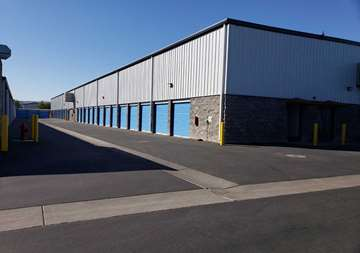 Outside row of storage units at SmartStop Self Storage facility located at 590 East Silverado Ranch Blvd, Las Vegas Nevada
