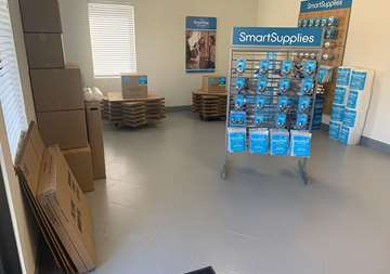 Available moving supplies for sale within front office at SmartStop Self Storage facility at 3101 Texas Avenue South, College Station Texas